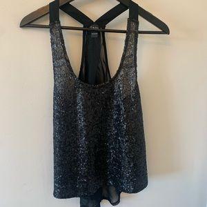2/$18 Sheer / Black / Sequinned / Sleeveless Top